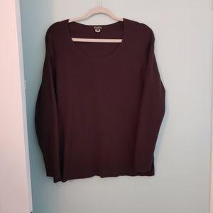 Eddie Bauer sweater, 2XL, brown, scoop neckline
